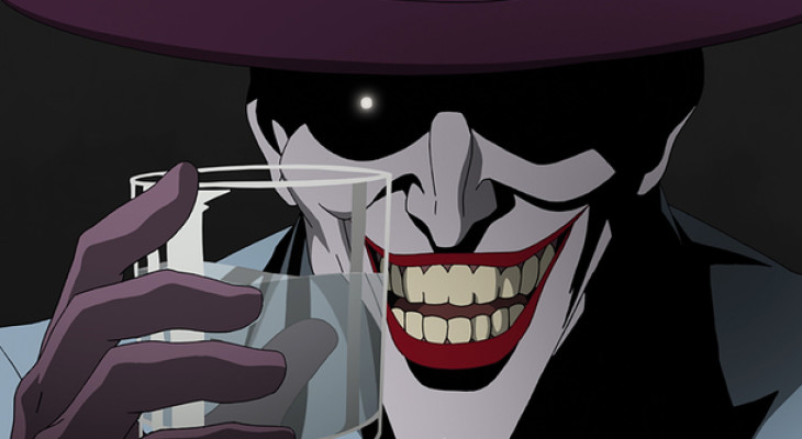 The joker giving his famous smile