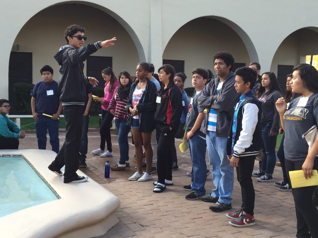 Students attending a college field trip